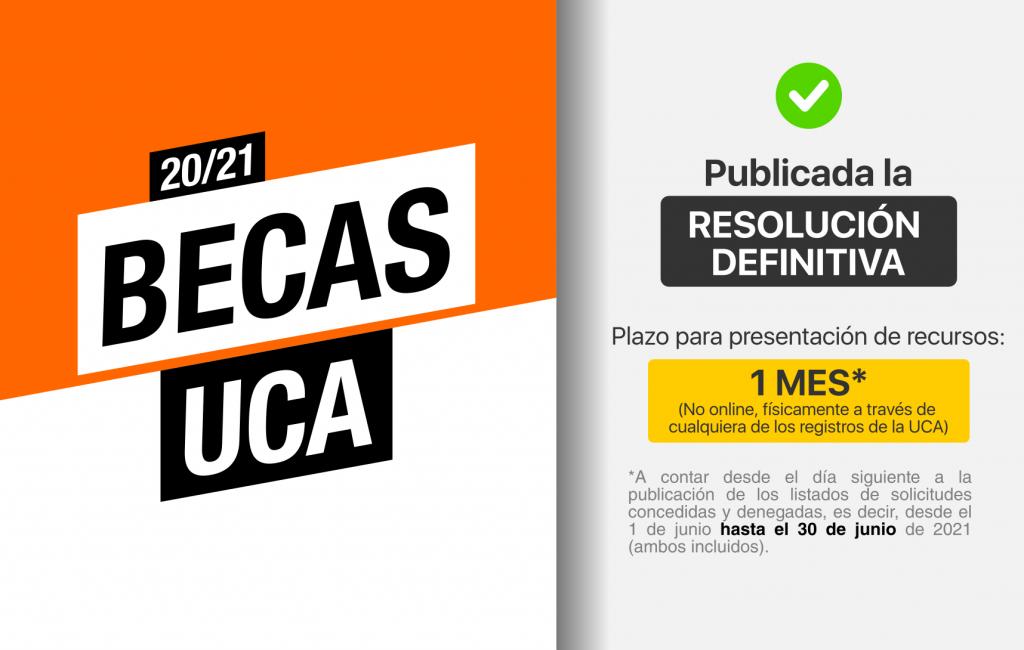 IMG Publicada la Resolución Definitiva de las Becas UCA 20/21